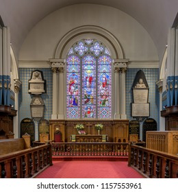 HALIFAX, NOVA SCOTIA/CANADA - JULY 16, 2018: Interior of the historic St. Paul's Church at 1749 Argyle Street in downtown Halifax