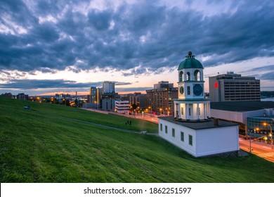 Halifax, NS, Canada : 2020 Aug 05 -The iconic town clock Halifax, an historic landmark of Halifax, Nova Scotia