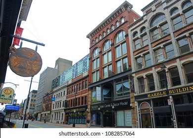 HALIFAX, NS, CANADA - MAY 22, 2016: Historic Buildings on Barrington Street between Prince Street and Sackville street in downtown Halifax, Nova Scotia, Canada.