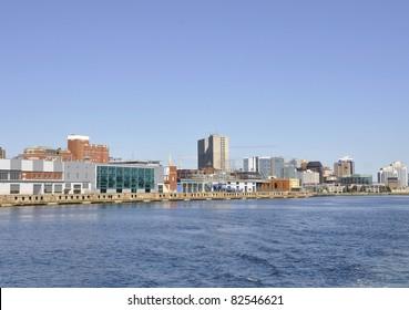 Halifax Seaport and skyline seen from the ocean, Halifax Nova Scotia Canada