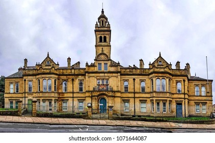 HALIFAX, UK - APRIL 14, 2018: The Magistrates Court, Halifax, West Yorkshire, England UK. Halifax is a Minster town and well known for the manufacture of wool from the 15th century