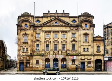 HALIFAX, UK - APRIL 14, 2018: The old Theatre Royal, Halifax, West Yorkshire, England UK. Halifax is a Minster town and well known for the manufacture of wool from the 15th century