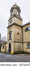 HALIFAX, UK - APRIL 14, 2018: The tower of Trinity House, Halifax, West Yorkshire, England UK. Halifax is a Minster town and well known for the manufacture of wool from the 15th century