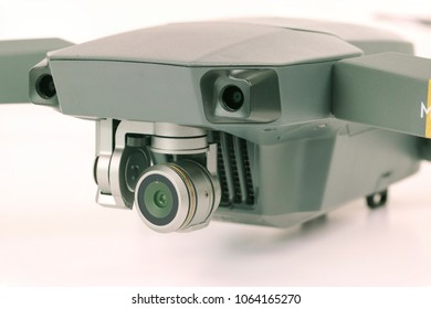 HALIFAX, UK - APRIL 2 2018: Close-up of a DJI Mavic Pro on a white background which is one of the most portable drones on the market