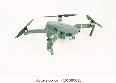 HALIFAX, UK - APRIL 8 2018: Close-up of a DJI Mavic Pro on a white background  which is one of the most portable drones on the market