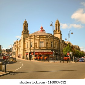 HALIFAX, UK - AUGUST 24, 2018: Victoria Theatre in the centre of Halifax. Halifax is a Minster town and well known for the manufacture of wool from the 15th century