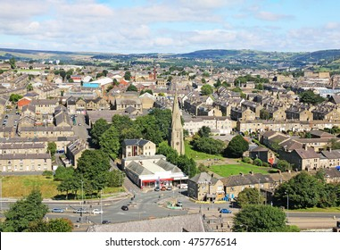 HALIFAX, UK - AUGUST 29, 2016: Aerial view of King Cross, Halifax from Wainhouse Tower. Wainhouse Tower is the tallest structure in Calderdale and the tallest folly in the world at 275 feet ,