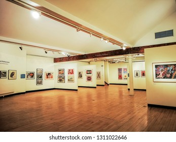 HALIFAX, UK - FEBRUARY 12, 2019: An exhibition of the prints of Michael Rothenstein (1908-1993), arguably the most experimental British graphic artist of the 20th century at Dean Clough, Halifax, UK.
