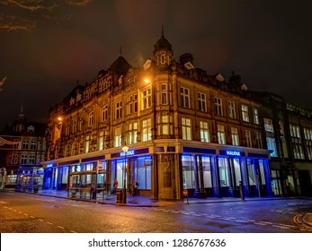 HALIFAX, UK - JANUARY 15, 2019: Halifax Permanent building in the centre of Halifax. Halifax is a Minster town and well known for the manufacture of wool from the 15th century