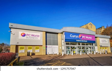 HALIFAX, UK - JANUARY 17, 2019: Exterior of a PC World retail store. PC World is one of the United Kingdom's largest retail chains of mass market computer superstores.