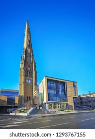 HALIFAX, UK - JANUARY 24, 2019: The new Halifax Library and Archive is located on the Square Church site next to the Piece Hall, Calderdale, West Yorkshire, UK