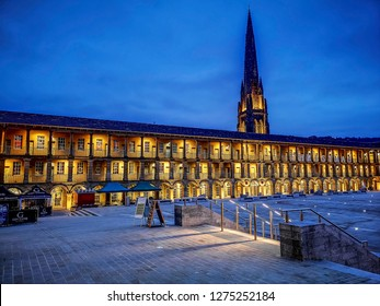 HALIFAX, UK - JANUARY 5, 2019: Piece Hall in the early morning. Piece Hall is a Grade I listed building in Halifax, West Yorkshire, England.