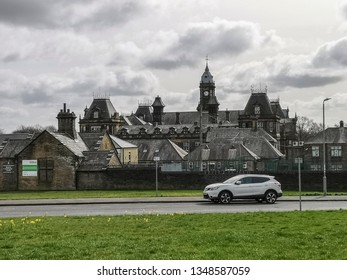 HALIFAX, UK - MARCH 23, 2019:  View of Crossley Heath Grammer School on a cloudy March day, Halifax, West Yorkshire, UK
