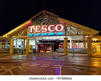 HALIFAX, UK - OCTOBER 29, 2017: HALIFAX, UK - OCTOBER 29, 2017:  The exterior of a Tesco's supermarket, Halifax, West Yorkshire, England, UK. Tesco's is one of the UK's leading supermarkets.