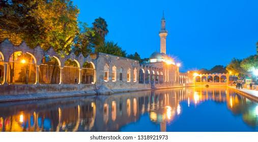 Halil-ur Rahman Mosque and Holy lake with sacred fish in Golbasi Park - Urfa, Turkey