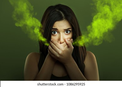 Halitosis concept of woman with bad breath