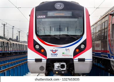 Halkali, Istanbul / Turkey - March 02 2019: Marmaray Trains on Halkali Marmaray Train Station