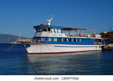 HALKI, GREECE - JUNE 19, 2017: Ferry boat Nikos Express moored at Emborio harbour on the Greek island of Halki. The ferry is one of several operating between the islands of Halki and Rhodes.