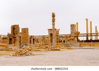 Hall of the 100 columns in the ancient city of Persepolis, Iran. UNESCO World heritage site