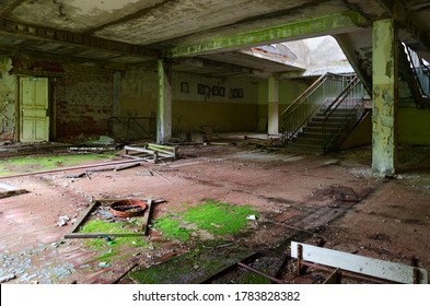 Hall of abandoned school in resettled village of Pogonnoye in exclusion zone of Chernobyl nuclear power plant, Khoiniki district, Gomel region, Belarus