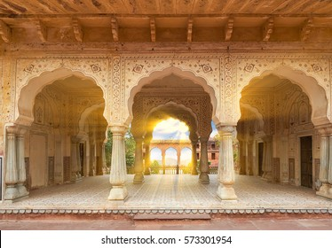 Hall with columns of Sattais Katcheri at Amer Fort  is located in Amer, not far from Jaipur, Rajasthan state, India. Located high on a hill, it is the principal tourist attraction in the Jaipur area.