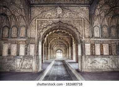 Hall with ethnic ornament in Khas Magal, Red Fort, Old Delhi, India