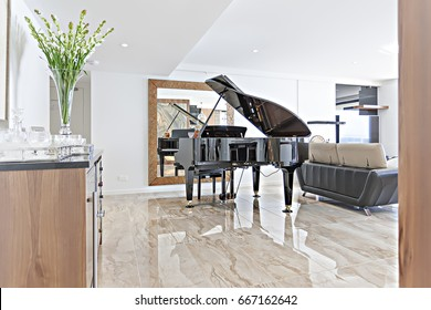 Hall including sofa close to piano, living room with luxury furniture, walls are white, flower vase near window