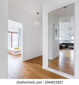 Hall in modern apartment with big mirror and passage to the rooms