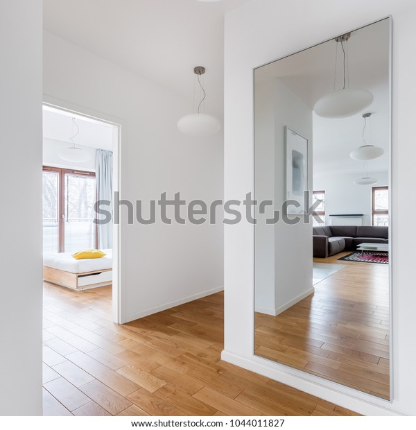 Hall Modern Apartment Big Mirror Passage Arkivfoto