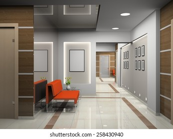 Hall a modern office 3D rendering