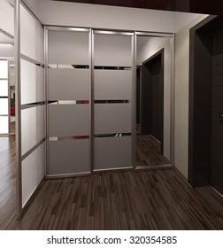 Hall modern style interior design, 3D render