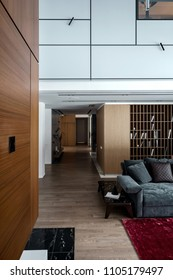 Hall in a modern style with light walls and a parquet with a red carpet on a floor. There is a sofa with pillows, small table, wooden lockers, shelves with books, hanging lamps, corridor with door.