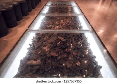 The Hall of Names in the Yad Vashem Holocaust Memorial Site in Jerusalem, Israel, some Shoe remains of the some 6 million Jews murdered during World War ll