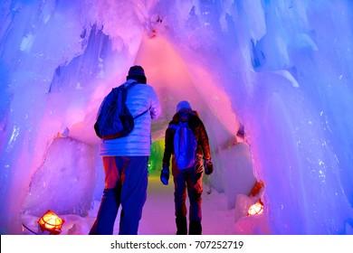 In the hall room Illuminated ice cave at Snow Festival Sapporo, Hokkaido, japan.