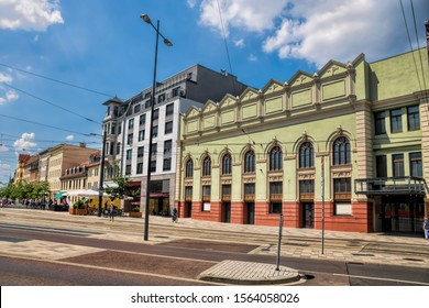 hall Saale, Germany - 17.6.2019 - Stone gate place