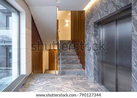 Perfect Hall Staircase And Elevator In A Modern Block Of Flats.