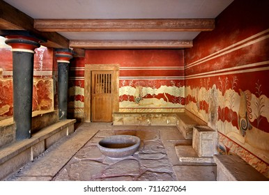 The hall of the throne in the Minoan Palace of Knossos, Heraklion, Crete, Greece. Date taken: 25.5.2015