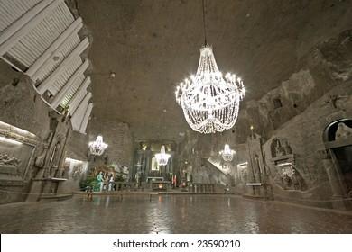 Hall in Wieliczka salt mine. Poland