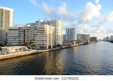 Hallandale Beach, FL, USA - DECEMBER 5, 2017: Beatiful view to Miami river and condominiums on Hallandale Beach
