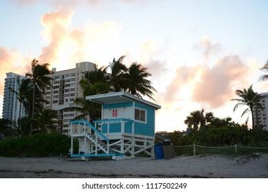 Hallandale Beach, FL, USA - DECEMBER 5, 2017: Lifeguard house at Hallandale Beach, Florida