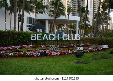 Hallandale Beach, FL, USA - DECEMBER 5, 2017: View to the Beach Club condominium at Hallandale Beach, Florida