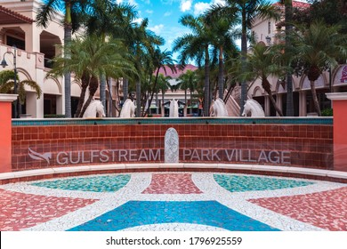 Hallandale Beach, Florida, USA - August 15, 2020: Gulfstream Park Racing and Casino. This sizable venue for horse racing features a casino, shopping center, lodging, dining.