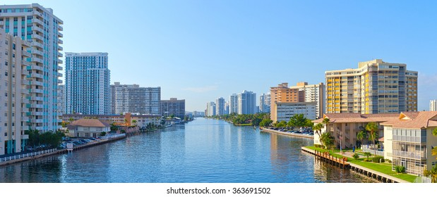 Hallandale Beach near Miami  Florida panoramic skyline on a beautiful summer day