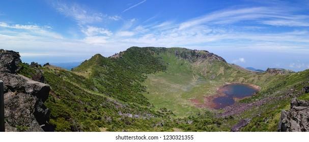 Hallasan mountain with blue sky