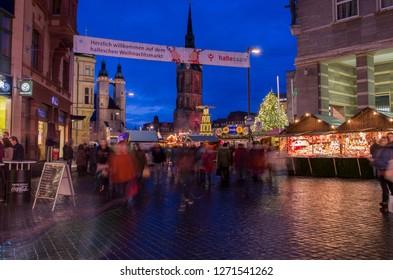 Halle an der Saale, Germany - December 21 2018: German Christmas market at night in Halle an der Saale, Germany