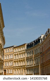Halle, Germany - April 28, 2010: Apartment buildings in a curved street in the city of Halle (Saale) in Germany.