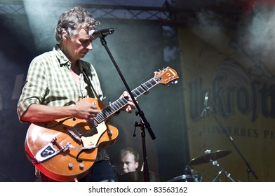 HALLE, GERMANY - AUGUST 26: guitarist of the Michy Reinke Band performs at the 75th Laternenfest on August 26, 2011 in Halle, Germany.