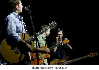 HALLE, GERMANY - AUGUST 26: Members of the Michy Reinke Band perform at the 75th Laternenfest on August 26, 2011 in Halle, Germany.