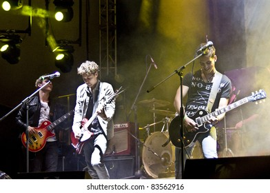 HALLE, GERMANY - AUGUST 27: Members of the Band The Black Pony perform at the 75th Laternenfest on August 27, 2011 in Halle, Germany.