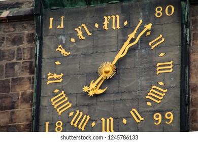Halle (Saale) city with square Hallmarkt and detail of clock church Marktkirche, Marktplatz, Germany